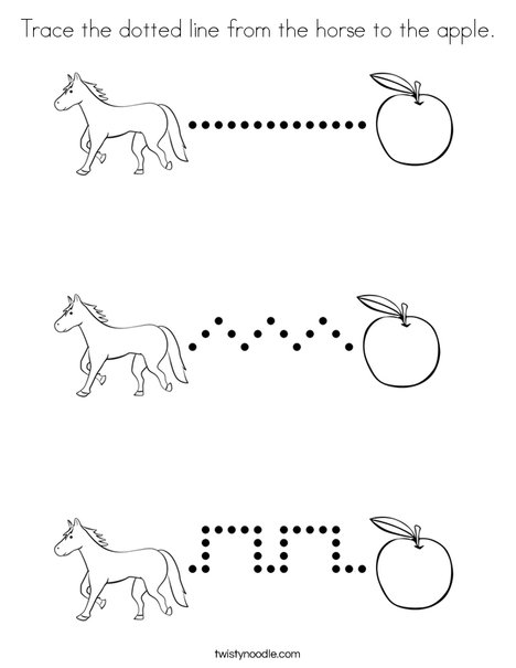 Trace the dotted line from the horse to the apple. Coloring Page