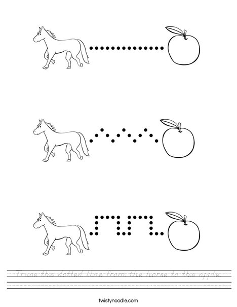 Trace the dotted line from the horse to the apple. Worksheet