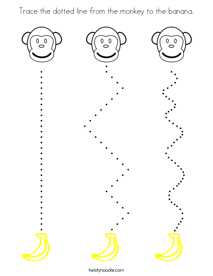 Trace the dotted line from the monkey to the banana. Coloring Page