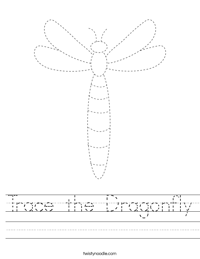 Trace the Dragonfly Worksheet
