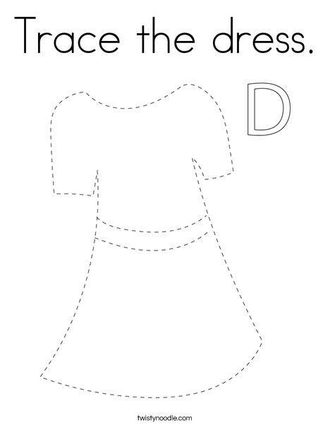 Trace the dress. Coloring Page