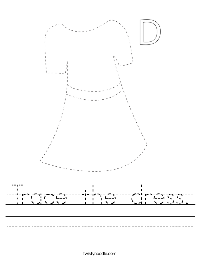Trace the dress. Worksheet