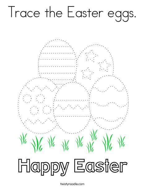 Trace the Easter eggs. Coloring Page