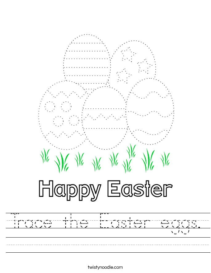 Trace the Easter eggs. Worksheet
