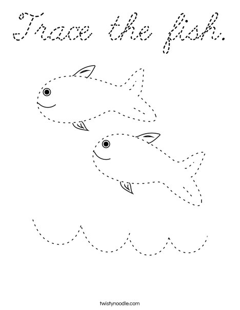 Trace the fish. Coloring Page