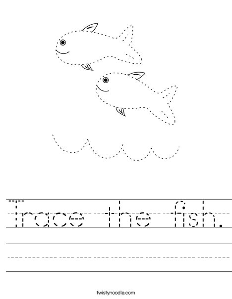 Trace the fish. Worksheet