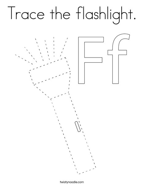 Trace the flashlight. Coloring Page