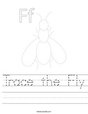 Trace the Fly Handwriting Sheet