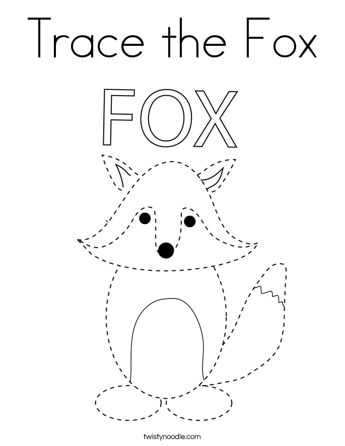 Trace the Fox Coloring Page