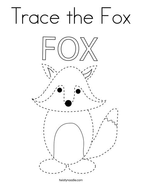 Trace the Fox Coloring Page - Twisty Noodle