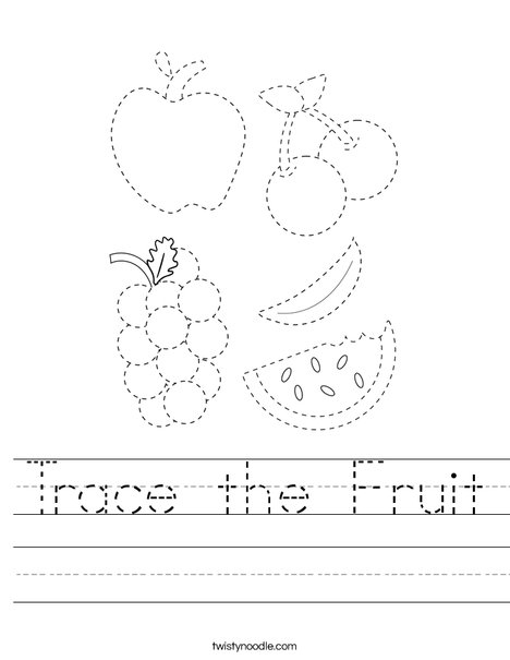 Trace the Fruit Worksheet
