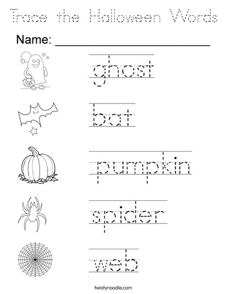 Trace the Halloween Words Coloring Page - Tracing - Twisty ...