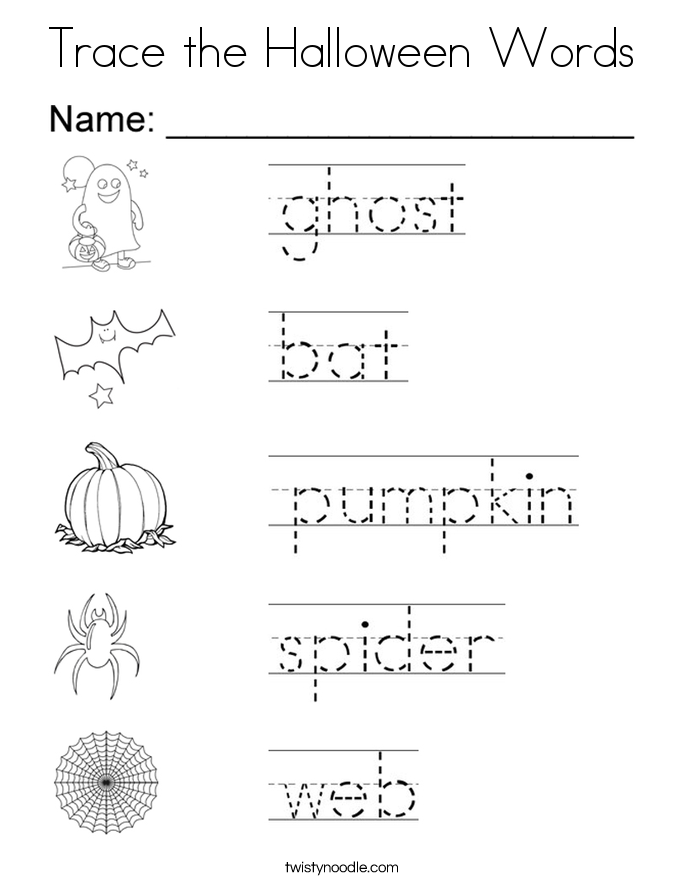 Trace The Halloween Words Coloring Page Twisty Noodle