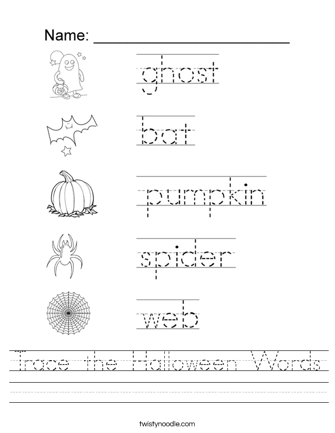 Trace the Halloween Words Worksheet - Twisty Noodle