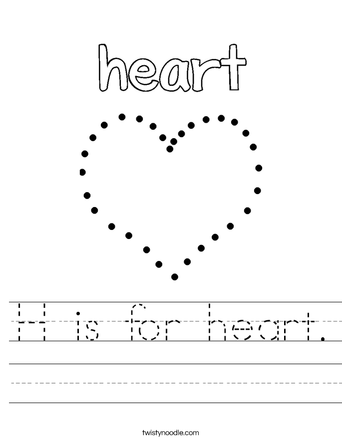 H is for heart. Worksheet