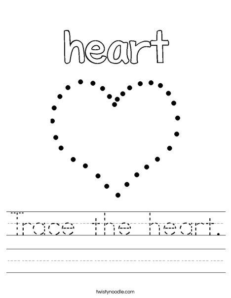 Trace the heart. Worksheet