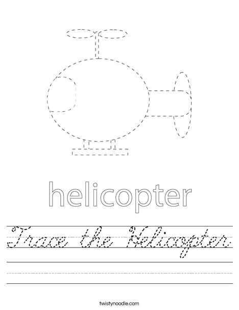Trace the Helicopter Worksheet