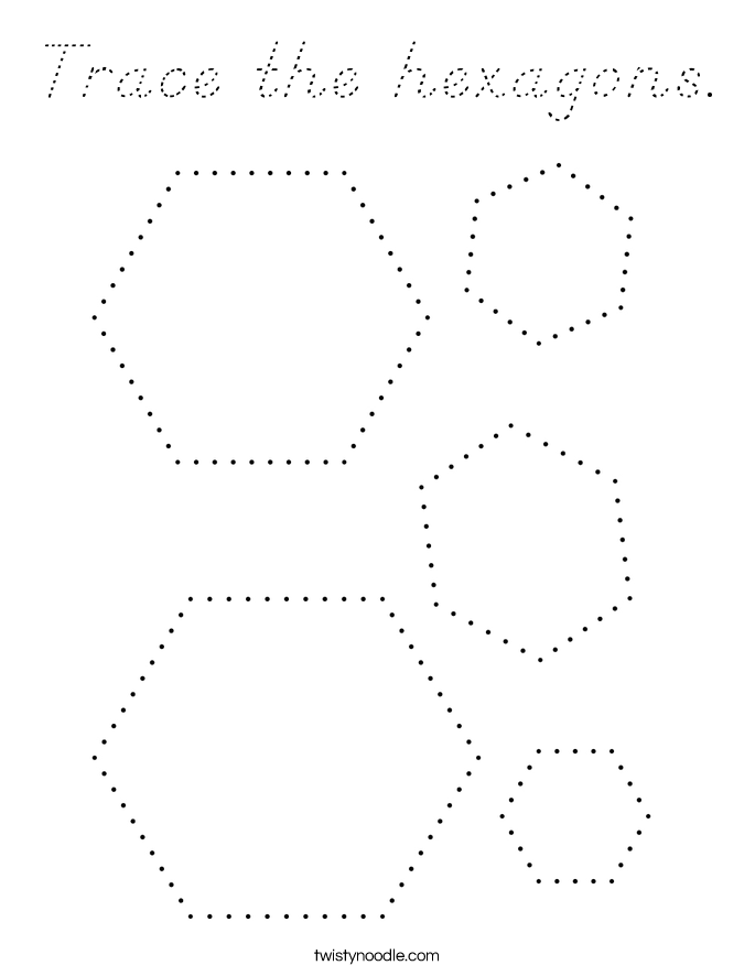 Trace the hexagons Coloring Page - D'Nealian - Twisty Noodle