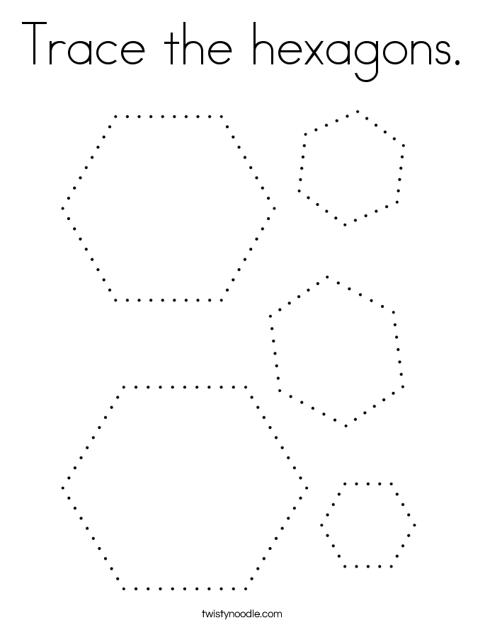 Trace the hexagons. Coloring Page
