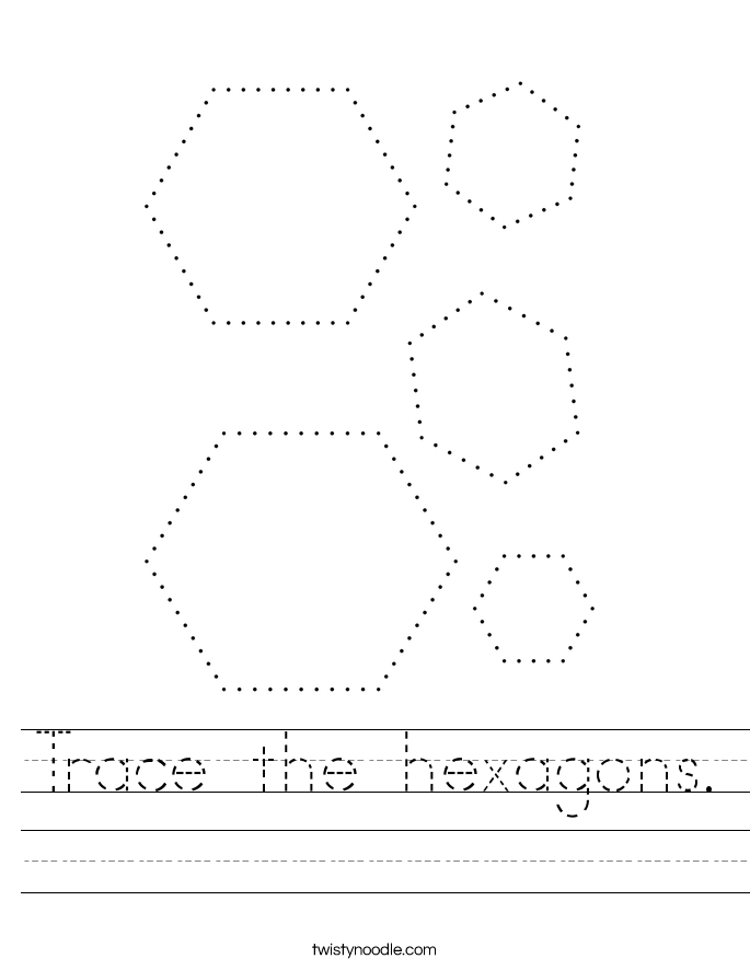 Trace the hexagons. Worksheet