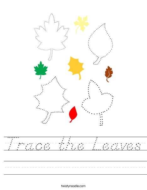 Trace the Leaves Worksheet