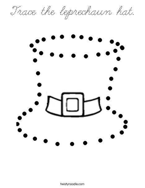 Trace the leprechaun hat. Coloring Page
