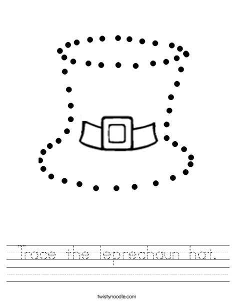 Trace the leprechaun hat. Worksheet
