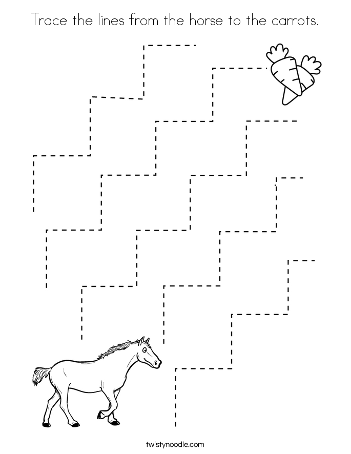 Trace the lines from the horse to the carrots. Coloring Page