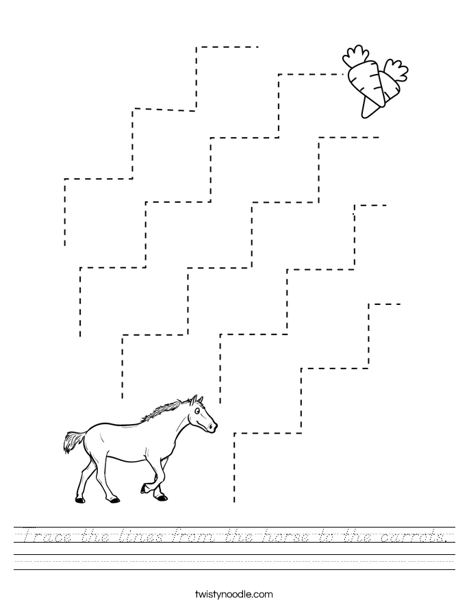 Trace the lines from the horse to the carrots. Worksheet