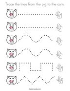 Trace the lines from the pig to the corn Coloring Page