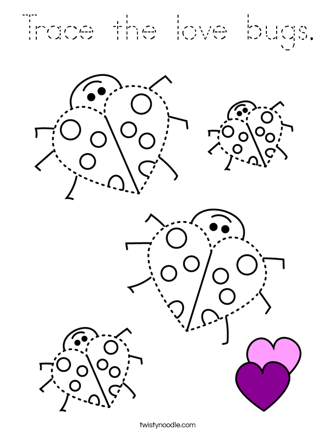 Trace the love bugs. Coloring Page