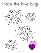 Trace the love bugs Coloring Page