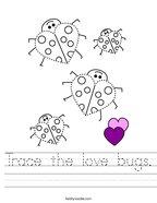 Trace the love bugs Handwriting Sheet