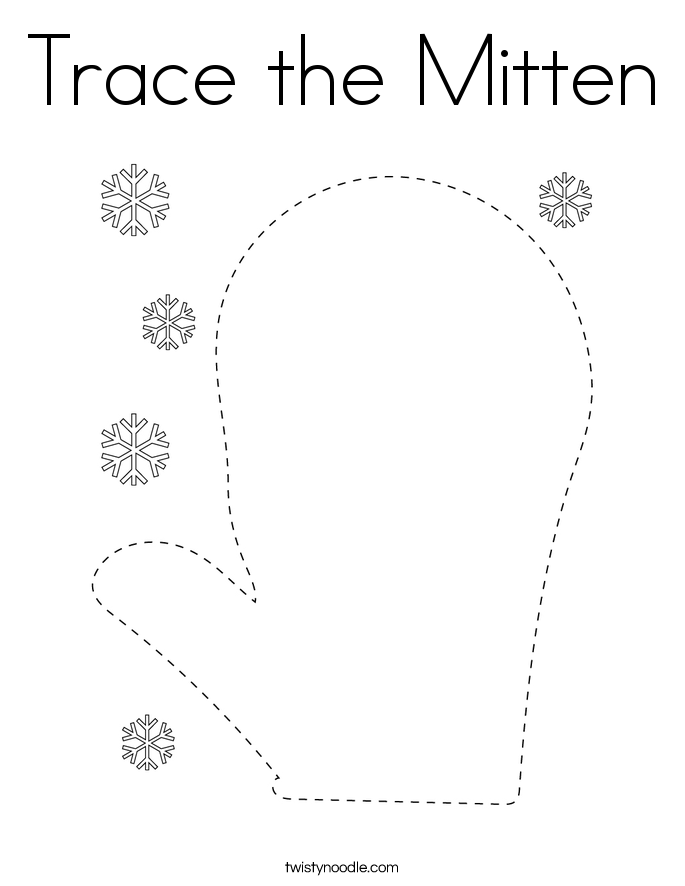 Trace the Mitten Coloring Page