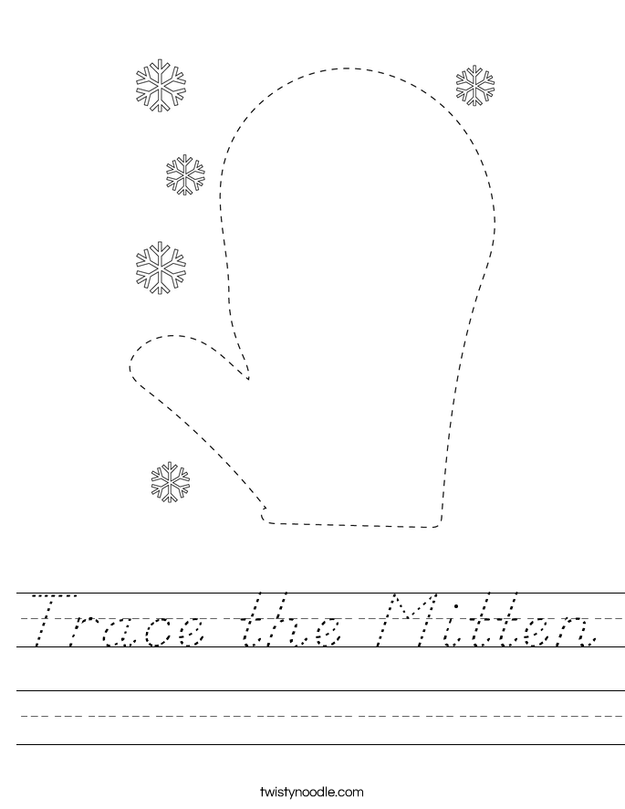 Trace the Mitten Worksheet