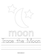 Trace the Moon Handwriting Sheet