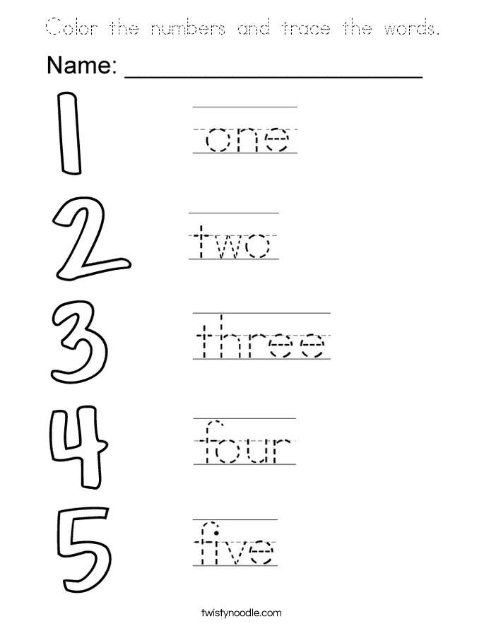 Color the numbers and trace the words. Coloring Page