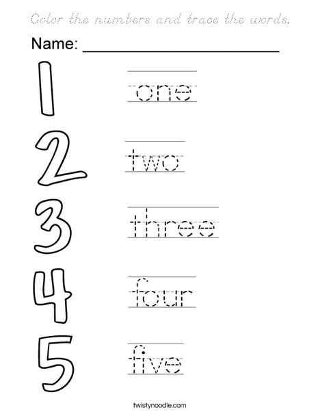 Trace the number words Coloring Page