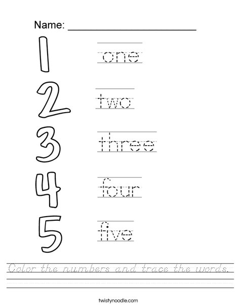 Trace the number words Worksheet