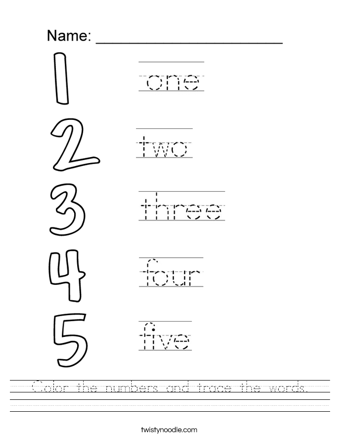 Worksheet. Color the numbers and trace the words Worksheet  Twisty Noodle