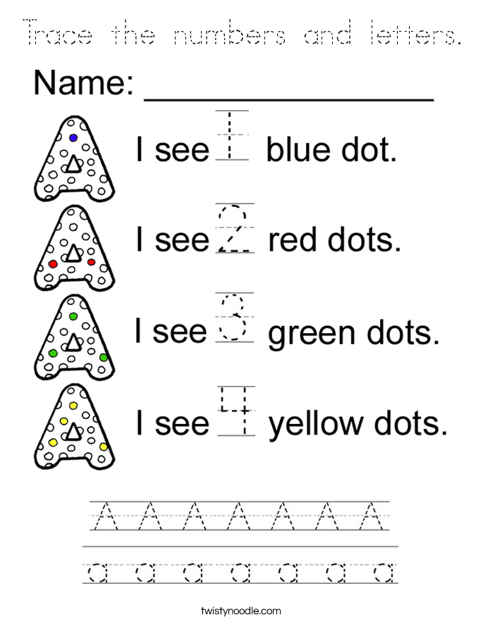 Trace the numbers and letters. Coloring Page