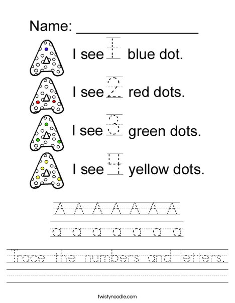 Trace the numbers and letters. Worksheet