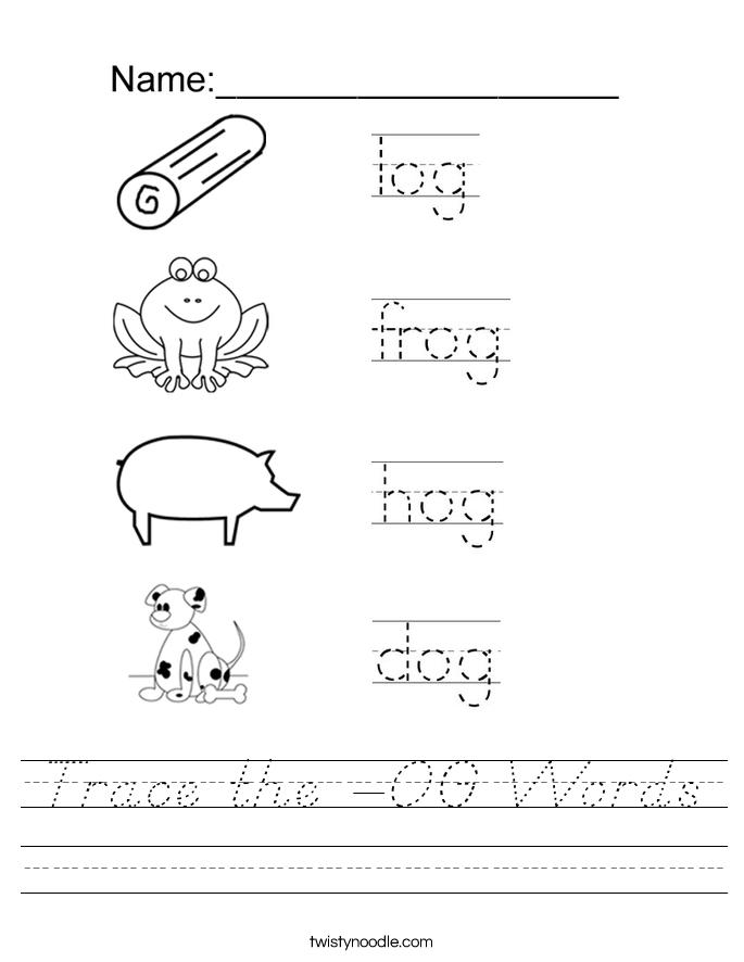 Trace the -OG Words Worksheet