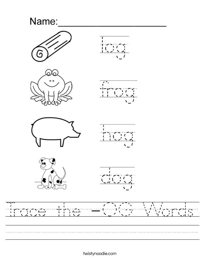 Trace the -OG Words Worksheet