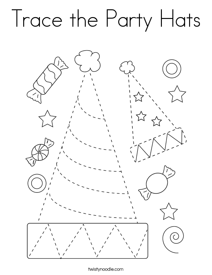 Trace the Party Hats Coloring Page