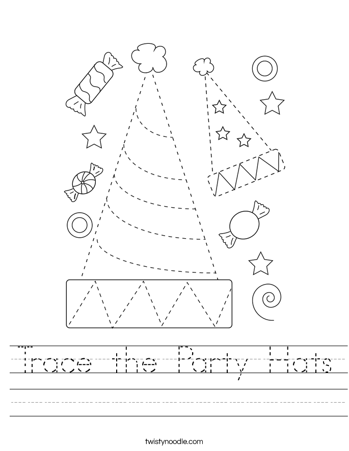 Trace the Party Hats Worksheet