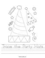 Trace the Party Hats Handwriting Sheet