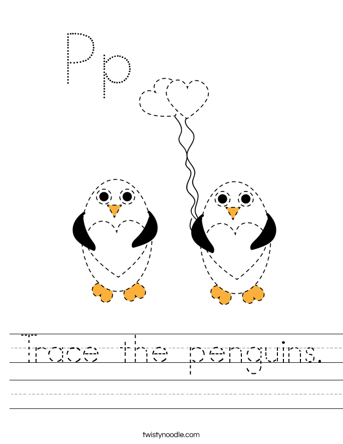Trace the penguins. Worksheet