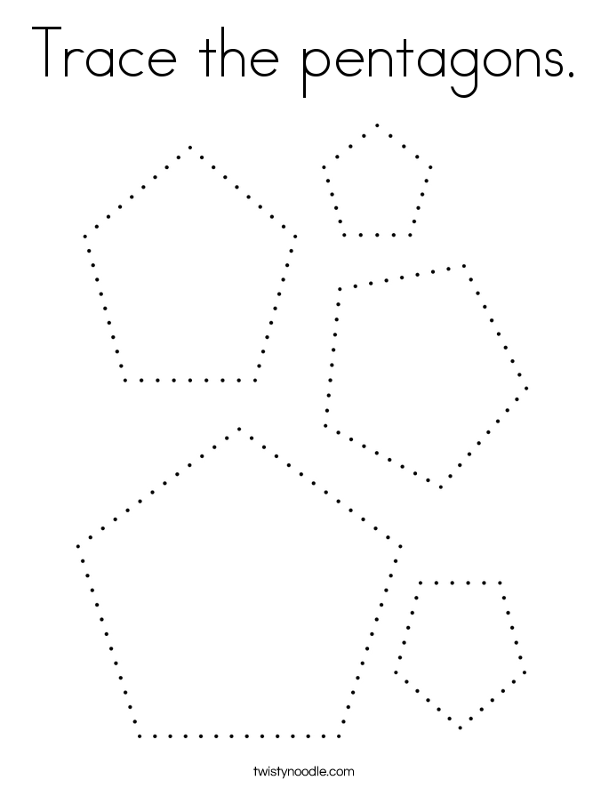 Trace the pentagons. Coloring Page