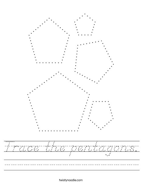 Trace the pentagons. Worksheet